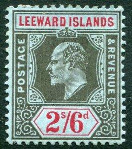 LEEWARD ISLANDS-1911 2/6 Black & Red/Blue Sg 44 AVERAGE MOUNTED MINT V33895