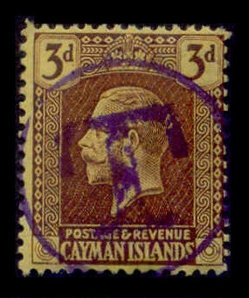 Cayman Islands 1921 3d with 'T' Postage Due Strike in Violet