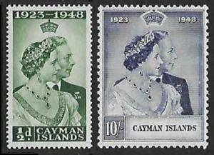 SILVER WEDDING CAYMAN ISLANDS 1948 Sc116 -117 MLH