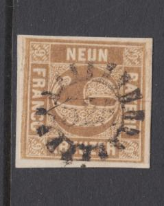 Bavaria Sc 12 used. 1862 9kr bister Numeral, 525 closed Millwheel cancel, sound