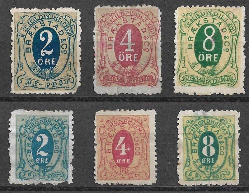NORWAY - 6 Braekstad & Co. By-Post (Local Post) - two sizes -Cinderella Ephemera