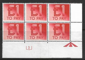 D99 £1 1982 Decimal Postage Due Cyl 3 UNMOUNTED MINT