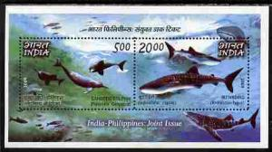 India 2009 Sharks & Dolphins perf m/sheet unmounted mint