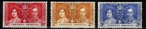 Northern Rhodesia 1937 , Coronation MNH # 22-24