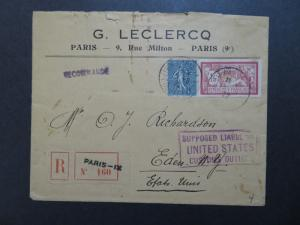 France 1922 Registered Commercial Cover to USA - Z8437