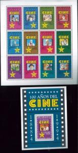 1994 CINEMA Souvenir Sheet Set #2051 -52 MNH - Nicaragua E22