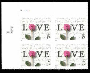 Sc# 3551 MNH FVF PLATE # BLOCK 57¢ 2001 Love Letter Red Rose Leaf Stem