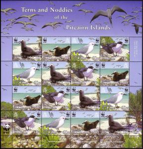 Pitcairn WWF Seabirds Sheetlet of 4 sets SG#724-727 MI#717-720 SC#647a-d
