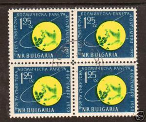 Bulgaria Sc 1093 used 1959 Lunik, Block of 4, VF SPACE