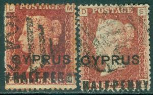 CYPRUS : 1881. Stanley Gibbons #7. 2 stamps. VF, Used. Plate 201, 205. Cat £215.