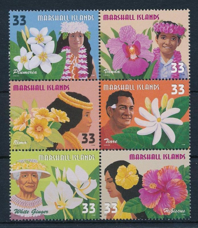 MARSHALL ISLANDS 1999 COMPLETE MINT BLOCK OF 6, FLOWERS OF THE PACIFIC SC #701
