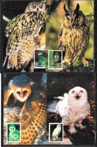 CHINA STAMPS,1995, SET OF 4 MAXI CARDS MC MAXIMUM CARDS OWLS
