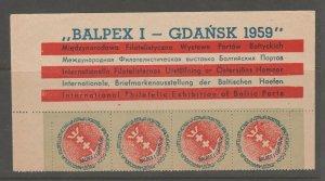 Poland Gdansk 1959 Cinderella stamp 9-20-19  - perfed piece- nice -4 stamps