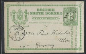 NORTH BORNEO COVER (P0804B) 8C PSC SANDAKAN TO GERMANY NO MSG