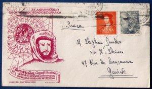 Spain 1953 Sc 699 & Sc790 Cover FDC Juan De La Cosa Sociedad Geografica Nov 1953