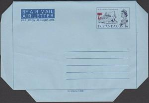 TRISTAN DA CUNHA QE 1973 5p on 9d airletter fine unused....................55448