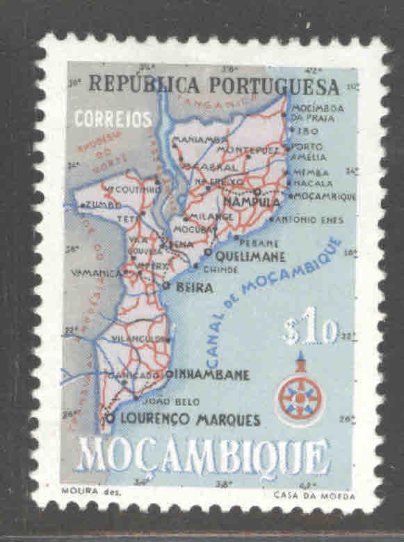 Mozambique Scott 387 MH* map stamp