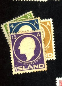 Iceland #86-88,90 FVF HRs Cat$25