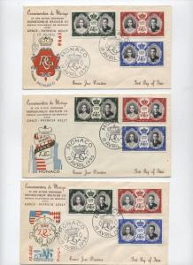 1956 Monaco Princess Grace marriage 3 cacheted covers [y2635]