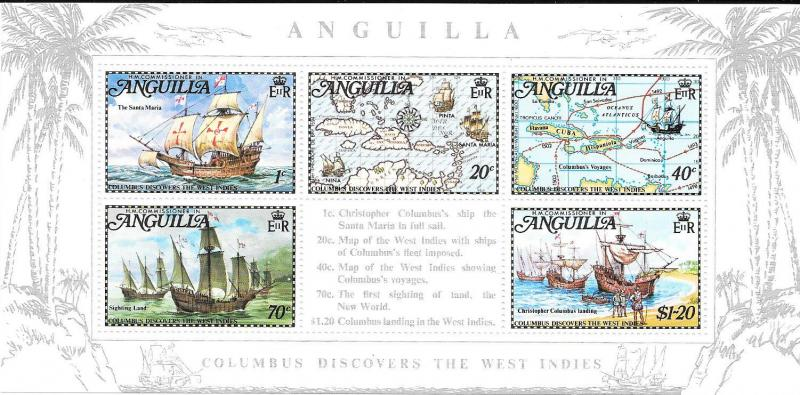 Anguilla #178a Discovery of West Indies SS/ of 5 (MNH) CV$8.75