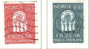 Norway Sc 560-1 1970 UN 25 yrs stamps used