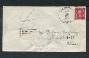 Postal History - Roscoe OH 1930 Black 4-bar Cancel Cover Adherence B0609