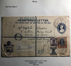 1944 Basra Iraq Indian C Base Registered Airmail Cover To Middle East Force
