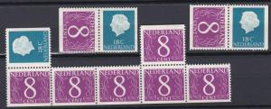 Netherlands # 346 & 343A, Partial Booklet Panes, NH.