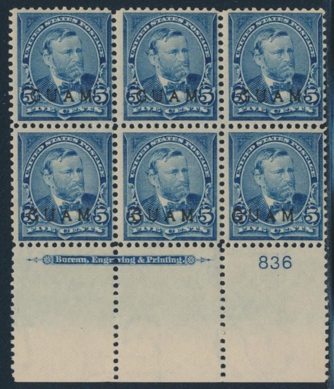 GUAM #5 PLATE # BLOCK OF 6 WITH IMPRINT VF OG TROPICAL GUM CV $775.00 HV7363