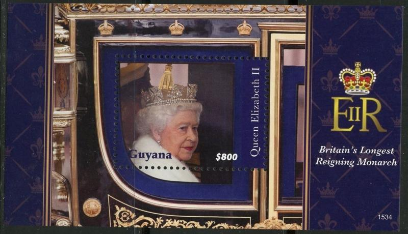 GUYANA 2016 QUEEN ELIZABETH II BRITAIN'S LONGEST REIGNING MONARCH S/S  MINT NH
