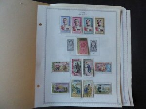 Laos 1962-1970 Stamp Collection on Album Pages