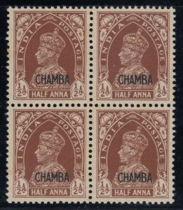 India (Chamba), SG 100, MNH block of four