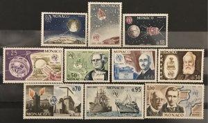 Monaco 1965 #605-15, MNH, CV $7.35