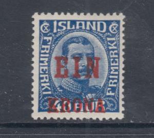 Iceland Sc 150 MLH. 1926 1k on 40a Ein Krona surcharge, VF