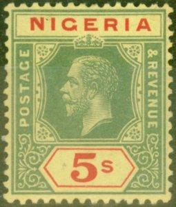 Nigeria 1921 5s on Pale Yellow SG10e Fine Lightly Mtd Mint