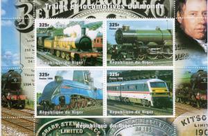 Niger 1998 Sc#1014 Trains-Locomotives Sheetlet (4) Perforated MNH