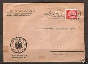 Germany Sc 422 perfin POL on 1936 cover to Austria