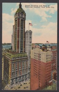 Unused Postcard: New York City – Singer Building and Financial District