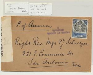KUT (TERORO) TO TEXAS USA 1939 CENSOR COVER H/S 1a TAPE 1a, 30c RATE(SEE BELOW)