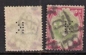 GB 1902 - 10 KEV11 1/-d stamp Perfins  K   (  E131 )