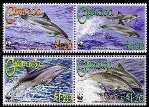 Grenada MNH 3654a-d Clymene Dolphin WWF 2007