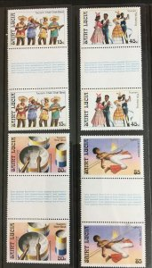 1986 St Lucia Sc# 862-5, Music and Dancing, Gutter Pairs