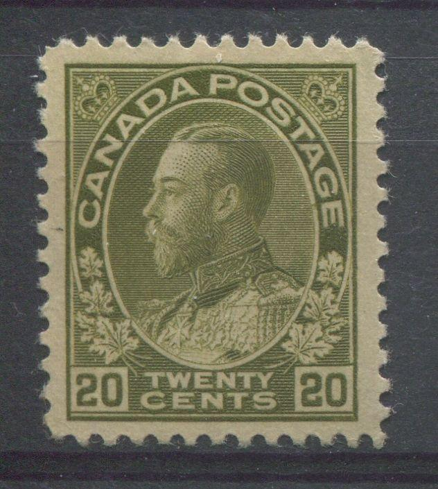 Canada #119iv 20c Olive Green 1911-27 Admiral Issue Dry Ptg. Retouch VF-82 OG
