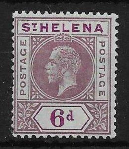 ST.HELENA SG86a 1913 6d DULL & DEEP PURPLE SPLIT A VAR MTD MINT