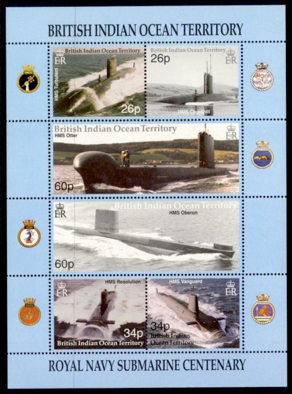 British Indian Ocean Territory Sc# 230 MNH Royal Navy Submarine Centenary (M/S)