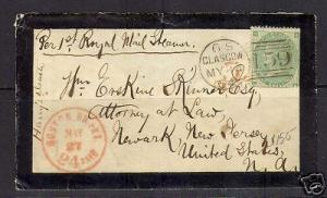 Great Britain #122 Mourning Cover To NJ USA