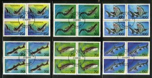 TANZANIA 1136-41 USED SHORT SET BKS-4 SHARKS SCV $14.00 BIN $7.00