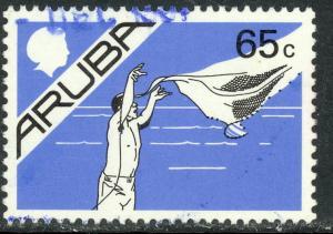ARUBA 1986-87 65c NET FISHING Pictorial Sc 10 VFU
