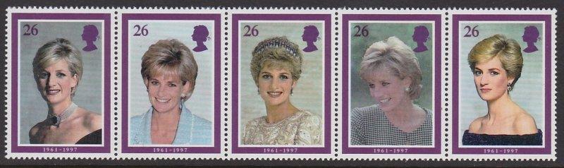 Great Britain MNH Strip 1795a Princess Diana 1998