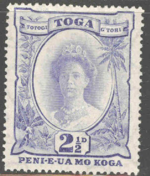 TONGA  Scott 58 Mint Hinged Queen Salote with turtle watermark